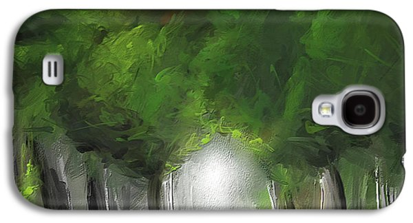 Green Serenity - Green Abstract Art Galaxy S4 Case by Lourry Legarde