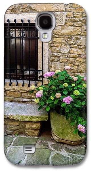 Groznjan Istrian Hill Town Stonework And Flowerpot - Istria, Croatia Galaxy S4 Case
