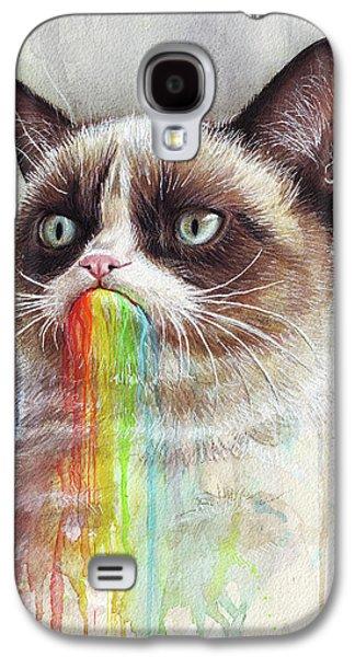 Cat Galaxy S4 Case - Grumpy Cat Tastes The Rainbow by Olga Shvartsur