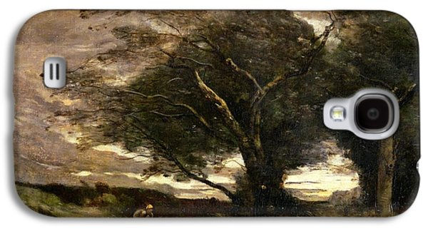 Wilderness Paintings Galaxy S4 Cases - Gust of Wind Galaxy S4 Case by Jean Baptiste Camille Corot