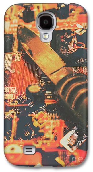 Hacking Knife On Circuit Board Galaxy S4 Case by Jorgo Photography - Wall Art Gallery