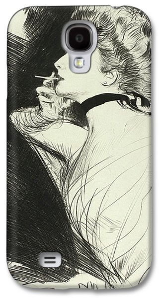 Half Length Portrait Of A Seated Woman, Smoking A Cigarette, Facing Left Galaxy S4 Case by Paul Helleu