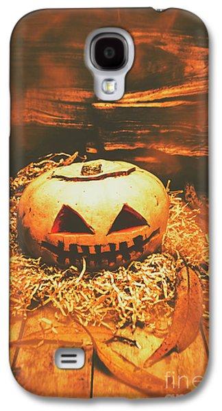 Halloween In Fall. Still Life Pumpkin Head Galaxy S4 Case