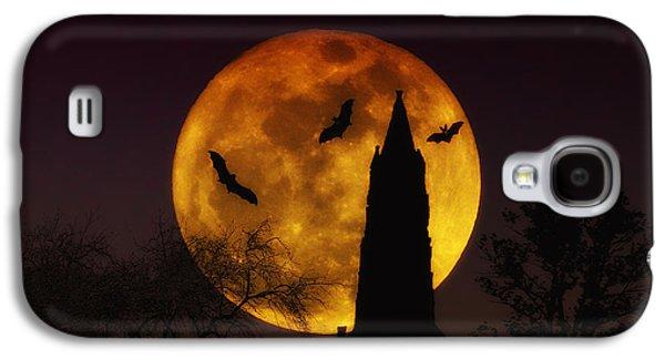 Bat Digital Art Galaxy S4 Cases - Halloween Moon Galaxy S4 Case by Bill Cannon