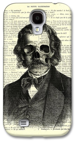 Halloween Skull Portrait In Black And White Galaxy S4 Case by Madame Memento