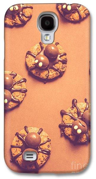 Halloween Spider Cookies On Brown Background Galaxy S4 Case