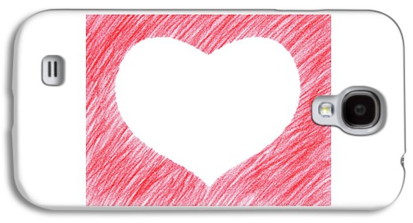 Design Galaxy S4 Case - Hand-drawn Red Heart Shape by GoodMood Art