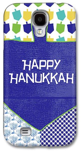 Happy Hanukkah Dreidel 2- Art By Linda Woods Galaxy S4 Case by Linda Woods