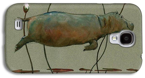 Happy Hippo Swimming Galaxy S4 Case by Juan  Bosco