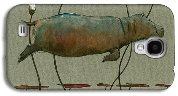 Happy Hippo Swimming Galaxy S4 Case by Juan  Bosco