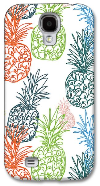 Happy Pineapple- Art By Linda Woods Galaxy S4 Case by Linda Woods