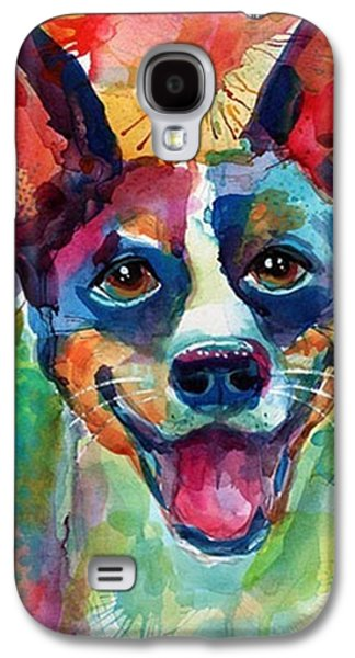 Galaxy S4 Case - Happy Rat Terrier Watercolor Portrait by Svetlana Novikova