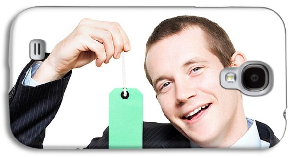 Happy Store Sales Man With Blank Price Tag Galaxy S4 Case by Jorgo Photography - Wall Art Gallery