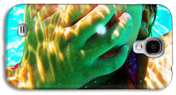 Happy Under Water Pool Girl Square Galaxy S4 Case by Tony Rubino