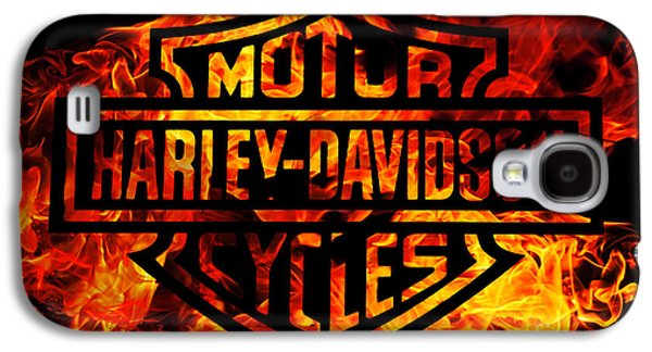 Harley Davidson Logo Flames Galaxy S4 Case by Randy Steele