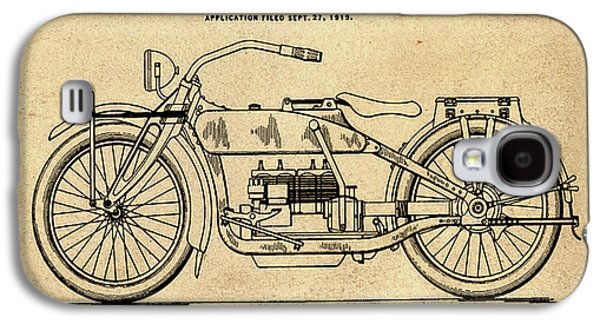 Harley Davidson Motorcycle Patent 1919 In Sepia Galaxy S4 Case by Bill Cannon