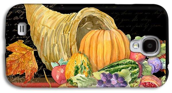 Harvest Cornucopia Of Blessings - Pumpkin Pomegranate Grapes Apples Galaxy S4 Case