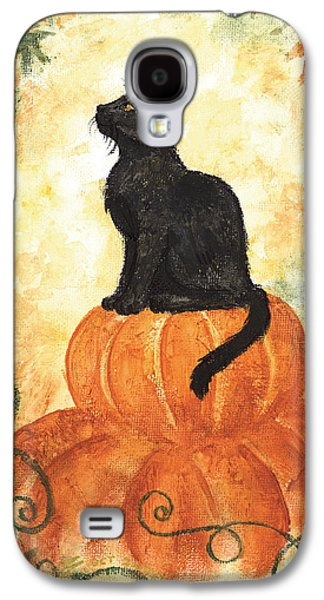 Samhain Paintings Galaxy S4 Cases - Harvest Kitty Galaxy S4 Case by Brandy Woods