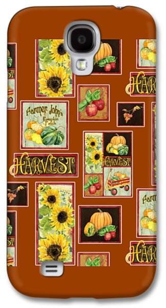 Harvest Market Pumpkins Sunflowers N Red Wagon Galaxy S4 Case by Audrey Jeanne Roberts