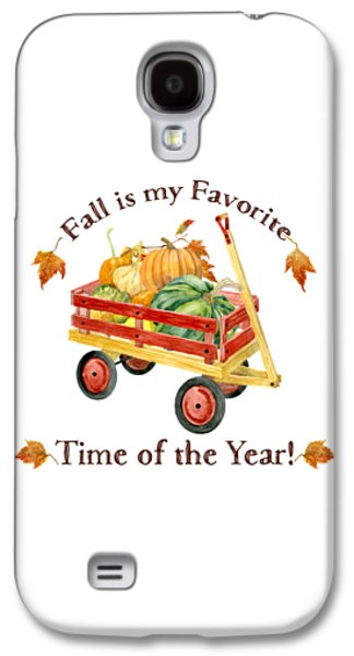 Harvest Red Wagon Pumpkins N Leaves Galaxy S4 Case by Audrey Jeanne Roberts