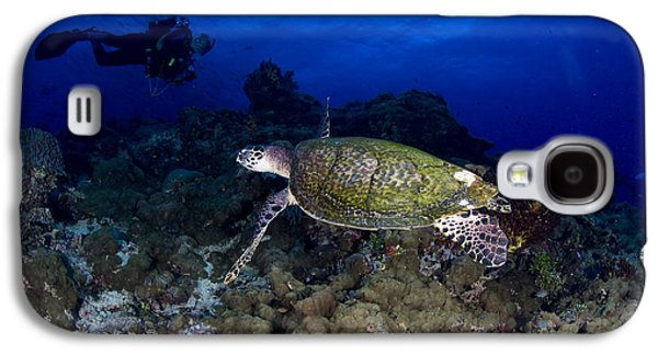Hawksbill Turtle Swimming With Diver Galaxy S4 Case