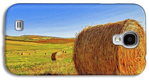 Haybales Paintings Galaxy S4 Cases - Hay Bales Galaxy S4 Case by Dominic Piperata