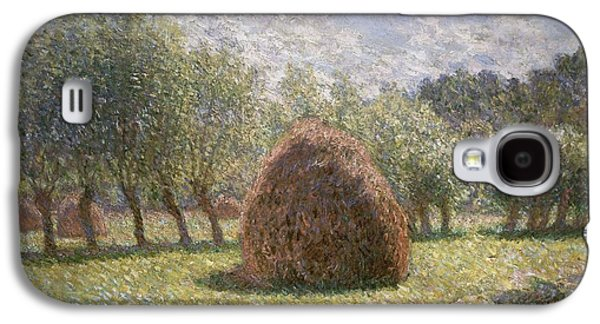Field. Cloud Paintings Galaxy S4 Cases - Haystacks at Giverny Galaxy S4 Case by Claude Monet