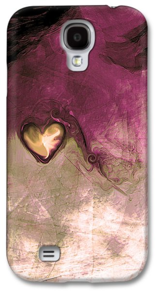 Abstract Expression Galaxy S4 Cases - Heart Of Gold Galaxy S4 Case by Linda Sannuti