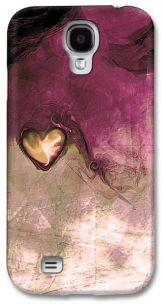 Abstract Digital Art Galaxy S4 Case - Heart Of Gold by Linda Sannuti