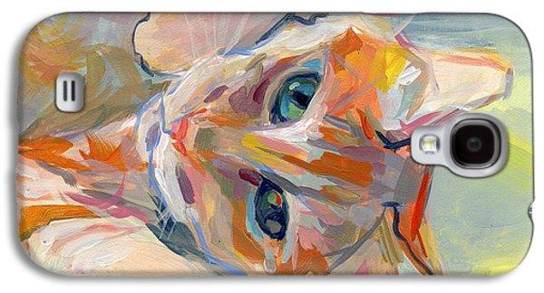 Orange Tabby Paintings Galaxy S4 Cases - Hello Kitty Galaxy S4 Case by Kimberly Santini