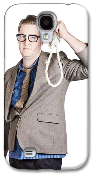 Helpless Businessman Holding Rope With Tied Noose Galaxy S4 Case by Jorgo Photography - Wall Art Gallery