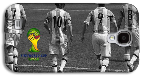 Here We Come Lionel Messi Fifa 2014 Black And White Galaxy S4 Case by Lee Dos Santos