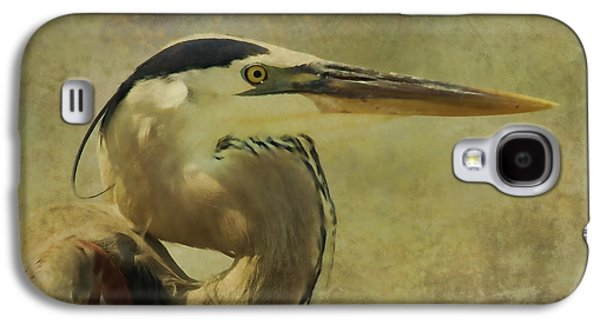 Deborah Benoit Galaxy S4 Cases - Heron On Texture Galaxy S4 Case by Deborah Benoit