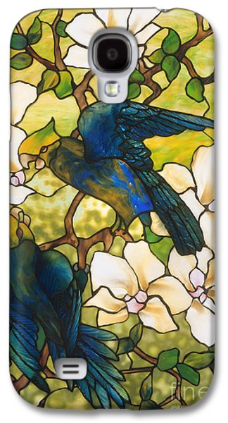 Lovebird Galaxy S4 Case - Hibiscus And Parrots by Louis Comfort Tiffany