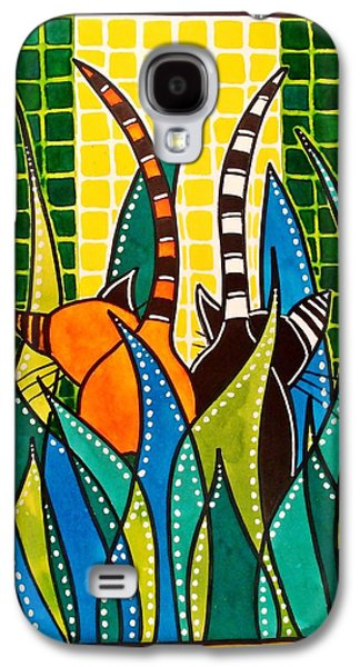 Galaxy S4 Case featuring the painting Hide And Seek - Cat Art By Dora Hathazi Mendes by Dora Hathazi Mendes