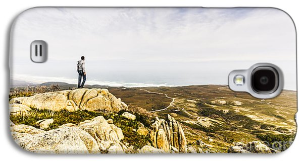 Hiker Man On Top Of A Mountain Galaxy S4 Case by Jorgo Photography - Wall Art Gallery
