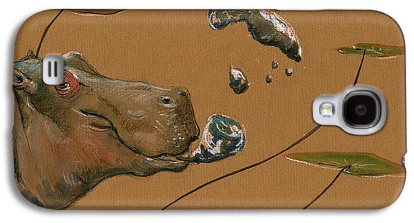 Hippo Bubbles Galaxy S4 Case by Juan  Bosco