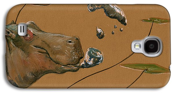 Hippo Bubbles Galaxy S4 Case by Juan  Bosco