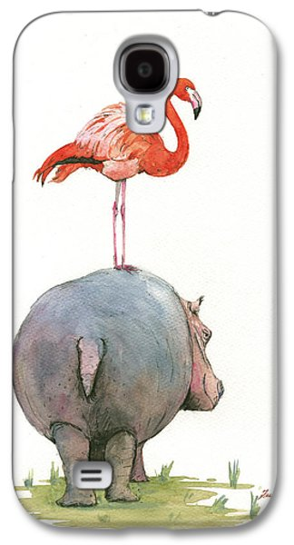 Hippo With Flamingo Galaxy S4 Case by Juan Bosco