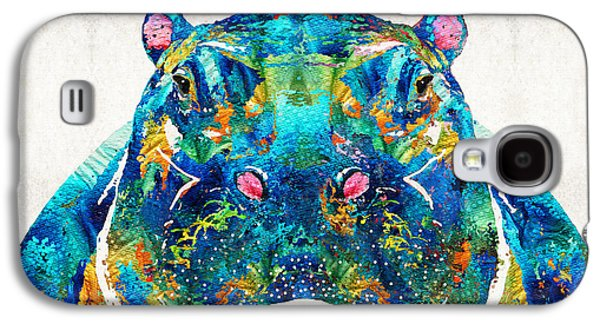 Hippopotamus Art - Happy Hippo - By Sharon Cummings Galaxy S4 Case by Sharon Cummings