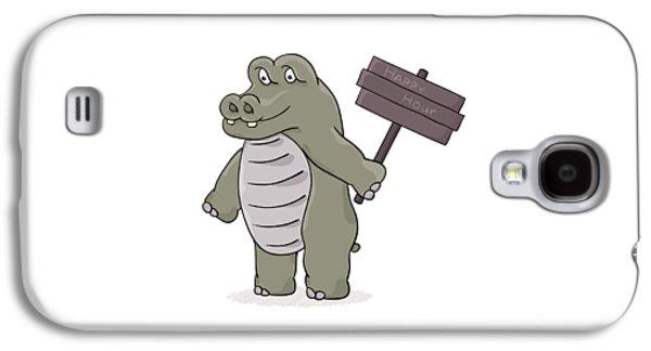 Hippopotamus With Happy Hour Sign Galaxy S4 Case