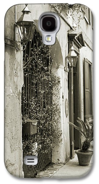 Historic Home Galaxy S4 Cases - Historic Home Wrought Iron Gate Charleston Sepia Galaxy S4 Case by Dustin K Ryan