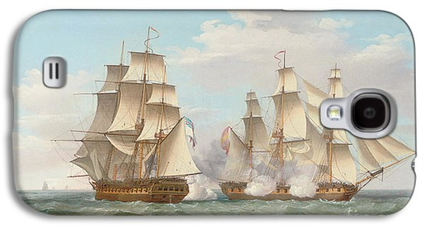 Hms Ethalion In Action With The Spanish Frigate Thetis Off Cape Finisterre Galaxy S4 Case by Thomas Whitcombe