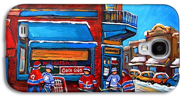 After School Hockey Paintings Galaxy S4 Cases - Hockey Game at Wilenskys Galaxy S4 Case by Carole Spandau