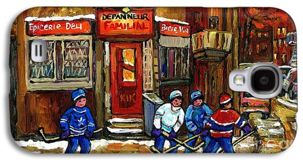 Hockey Game This Evening At Depanneur Familiale In Ville Emard Montreal Best Canadian Hockey Art Galaxy S4 Case by Carole Spandau