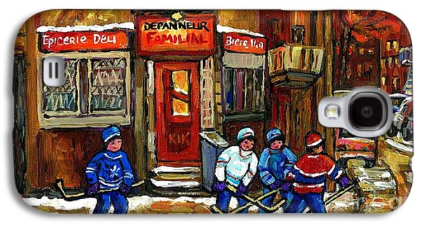 Hockey Game This Evening At Depanneur Familiale In Ville Emard Montreal Best Canadian Hockey Art Galaxy S4 Case