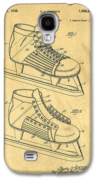 Hockey Skates Patent Art Blueprint Drawing Galaxy S4 Case by Edward Fielding