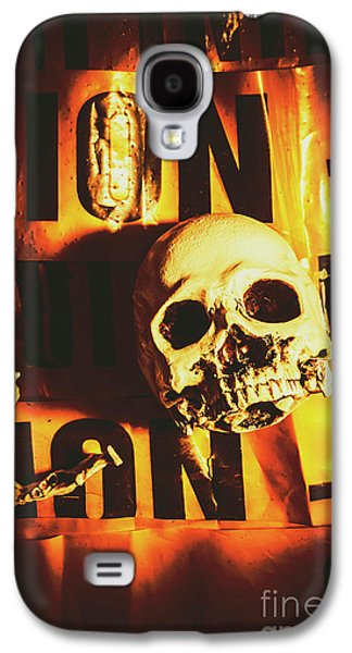 Horror Skulls And Warning Tape Galaxy S4 Case