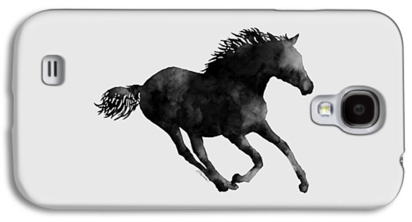 Horse Running In Black And White Galaxy S4 Case by Hailey E Herrera
