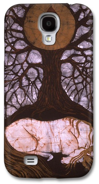 Emergence Tapestries - Textiles Galaxy S4 Cases - Horse Sleeps Below Tree of Rebirth Galaxy S4 Case by Carol  Law Conklin